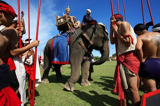 Thailand, Chiang Rai Province, Chiang Saen town, King´s Cup Elephant Polo opening parade : Stock Photo