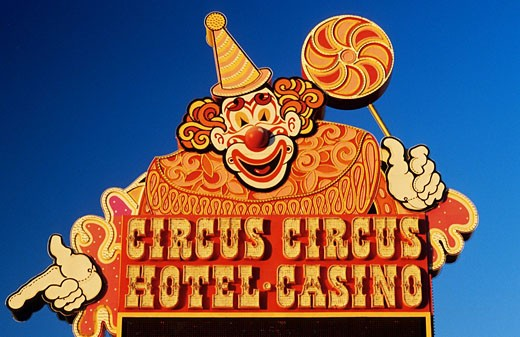 United States, Nevada, Las Vegas, Circus Circus casino brand name on Las Vegas Boulevard : Stock Photo