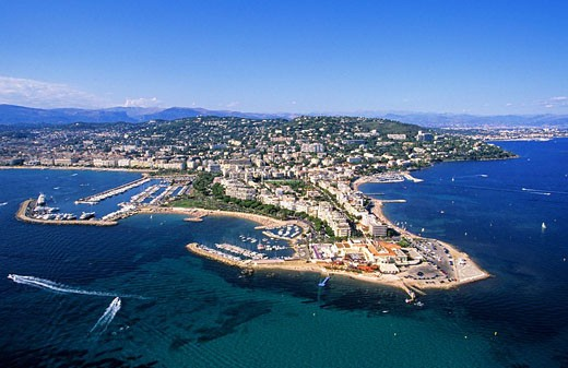France, Alpes Maritimes, Cannes, Cap de la Croisette aerial view : Stock Photo