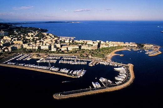 France, Alpes Maritimes, Cannes, Pointe de la Croisette, Porto Canto aerial view : Stock Photo