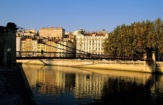 Stock Photo: 1792-73101 France, Rhone, Lyon, Saone River, Quai de Bondy and Saint Vincent footbridge