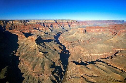 United States, Arizona, the Grand Canyon, South Rim aerial view : Stock Photo