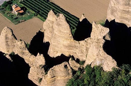 Stock Photo: 1792-74320 France, Alpes de Haute Provence, Les Mees village, rocks called Penitents aerial view