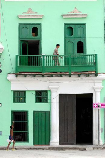 Cuba, Havana, Habana Vieja quarter listed as World Heritage by UNESCO, colourful facades : Stock Photo