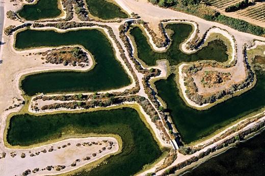 Stock Photo: 1792-74893 France, Var, Ile des Embiez, anciens Salins aerial view