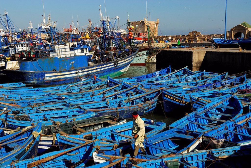 Stock Photo: 1792-75002 Morocco, Essaouira, small boats in fishing harbour