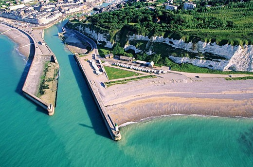 France, Seine Maritime, Saint Valery en Caux aerial view : Stock Photo