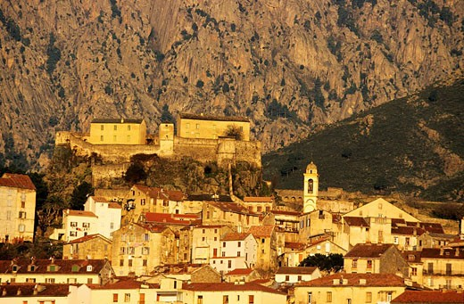 France, Haute Corse, Corte and its citadel : Stock Photo