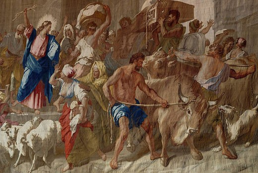 France, Paris, Les Gobelins, tapestry by Jean Jouvenet in chapel, Christ driving out merchants of the Temple : Stock Photo