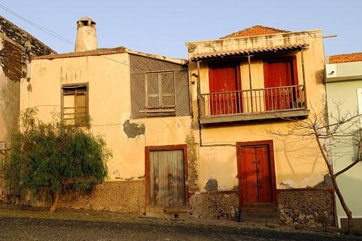 Cape Verde, Fogo Island, Sao Filipe town with Sobrado architecture : Stock Photo