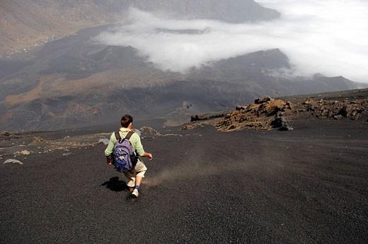 Stock Photo: 1792-77160 Cape Verde, Fogo Island, Pico Volcano 9 281,50 ft, steep descent in pozzolanas fine scorias