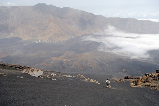 Stock Photo: 1792-77161 Cape Verde, Fogo Island, Pico Volcano 9 281,50 ft, steep descent in pozzolanas fine scorias