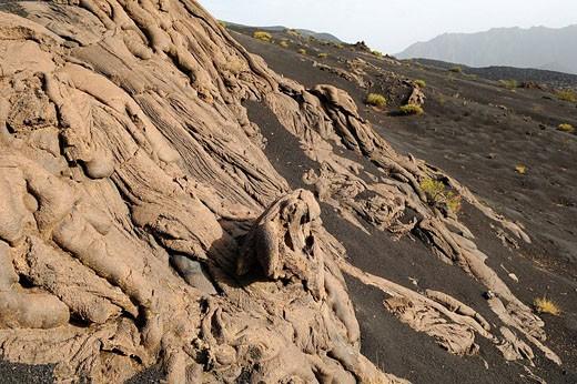 Cape Verde, Fogo Island, Fogo Volcano caldera, lava stream : Stock Photo