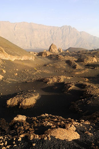 Cape Verde, Fogo Island, Fogo Volcano caldera, lava field of 1995 eruption : Stock Photo