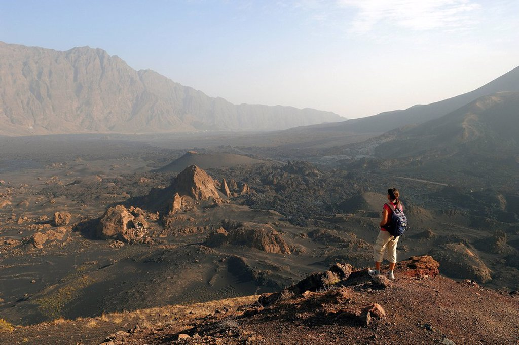 Cape Verde, Fogo Island, hiking in the Fogo Volcano caldera, lava field of 1995 eruption : Stock Photo
