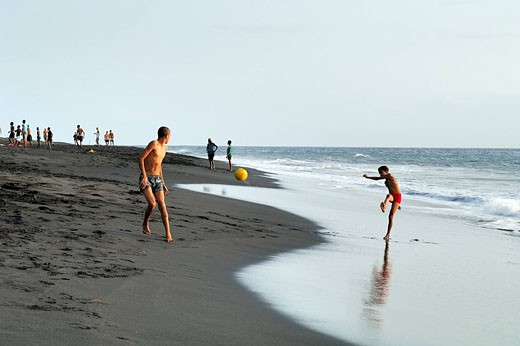 Cape Verde, Fogo Island, Sao Filipe, black sand beach : Stock Photo