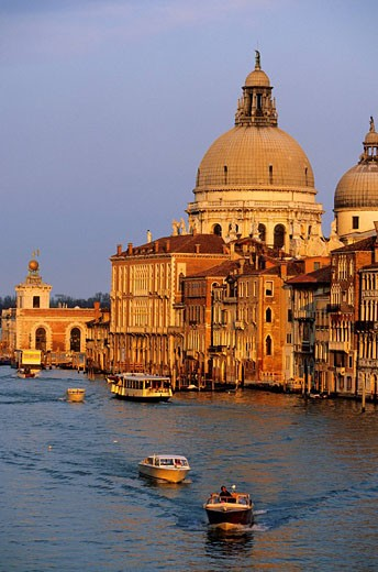 Italy, Veneto, Venice, Santa Maria della Salute Church on the Grand Canal : Stock Photo