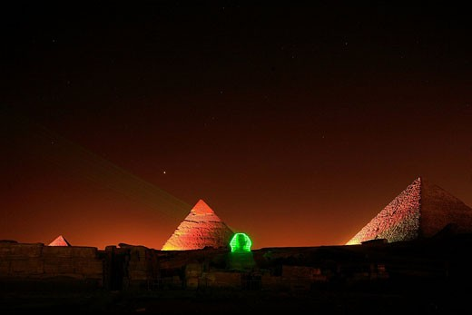 Stock Photo: 1792-77759 Egypt, Cairo, Guizeh, listed as World Heritage by UNESCO, son et lumiere display, the Sphinx in front of the pyramids
