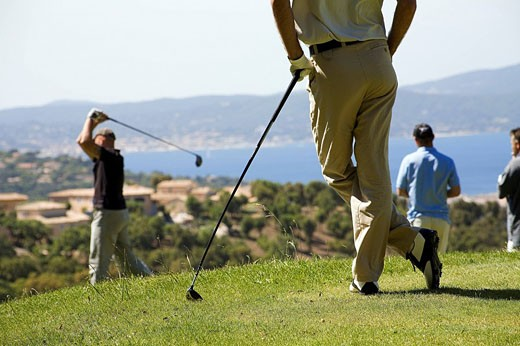 France, Var, Sainte Maxime Golf course above Saint Tropez Bay : Stock Photo