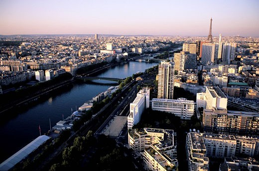 France, Paris, banks of the Seine river listed as World Heritage by UNESCO, quai Andre Citroen aerial view : Stock Photo