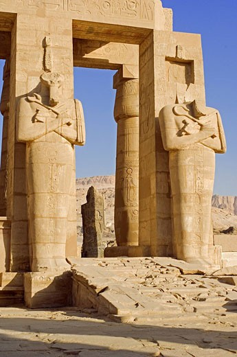 Egypt, Nile Valley, Luxor, Western bank, Thebes Necropolis, Ramesseum, Osiris Pillars : Stock Photo