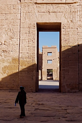 Egypt, Nile Valley, Luxor region, Western bank, Thebes Necropolis, Ramses III Temple in Medinet Habu : Stock Photo