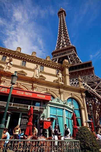 Stock Photo: 1792-80863 United States, Nevada, Las Vegas, The Strip, Paris Las Vegas Hotel and Casino, Mon ami Gabi Restaurant