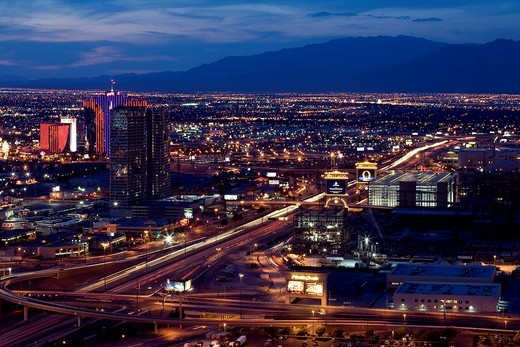 United States, Nevada, Las Vegas, The Strip, City northwest part viewed from The Hotel, Hotel and Casino : Stock Photo