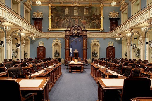Stock Photo: 1792-82252 Canada, Quebec Province, Quebec City, Parliament building, home to the National Assembly, Salon Bleu