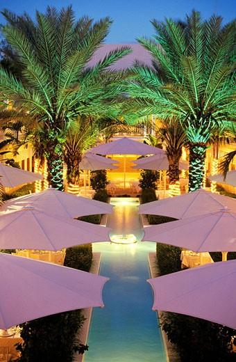 Stock Photo: 1792-82440 Bahamas, Paradise Island, Ocean Club Hotel, Terrrace by night