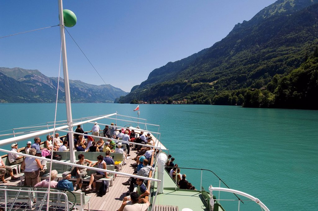 Stock Photo: 1792-83207 Switzerland, Canton of Bern, Bernese Oberland, Interlaken, cruise ship on Lake Brienz Brienzer See
