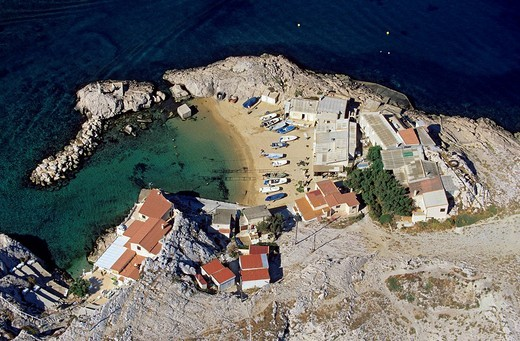 France, Bouches du Rhone, Marseille, Les Goudes District, Cap Croisette aerial view : Stock Photo