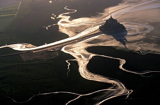 France, Manche, Mont Saint Michel listed as World Heritage by UNESCO aerial view : Stock Photo