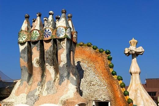 Spain, Catalonia, Barcelona, Passeig de Gracia 43, Casa Battlo listed as World Heritage by UNESCO by Architect Antoni Gaudi, Roof detail : Stock Photo