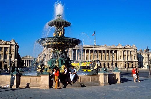 Stock Photo: 1792-84174 France, Paris, Place de la Concorde, Jacques Hittorff Fountain