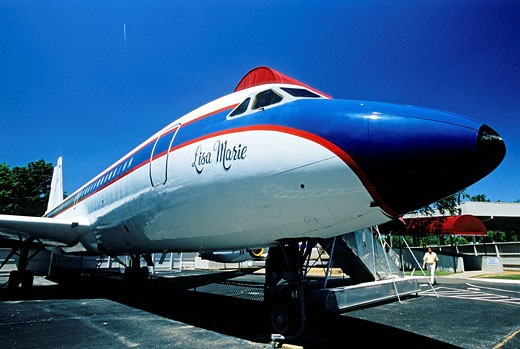 United States, Tennessee, Memphis, Elvis Presley ´s Lisa Marie private jet at his home Graceland : Stock Photo