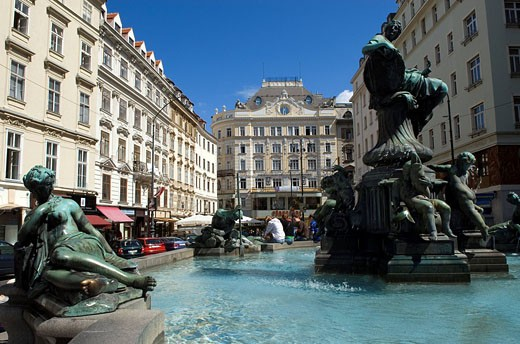 Austria, Vienna, New Market Square Neuer Markt, Donner Fountain : Stock Photo