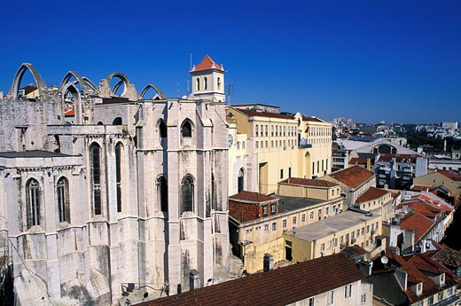 Stock Photo: 1792-85776 Portugal, Lisbon, Gothic ruins of Carmo Church, 15th century church partly destroyed by 1755 earthquake