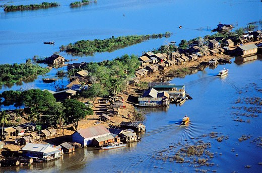 Cambodia, Siem Reap Province, Chong Kneas, floating village on Tonle Sap Lake, Biosphere Reserve aerial view : Stock Photo