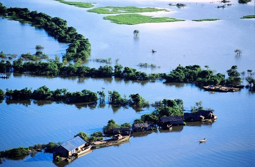 Cambodia, Tonle Sap Lake, Biosphere Reserve aerial view : Stock Photo