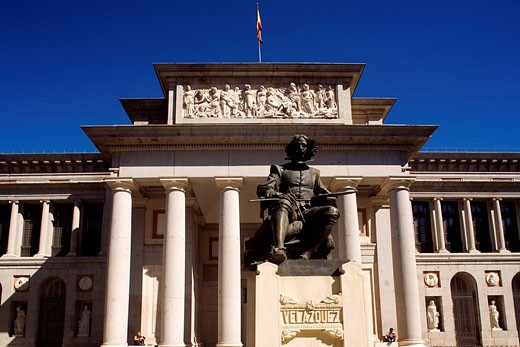 Spain, Madrid, the Prado Museum, Velazquez statue : Stock Photo