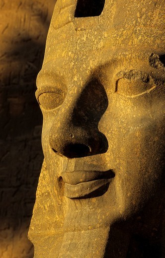 Egypt, Nile Valley, Luxor, Luxor Temple, detail of a statue : Stock Photo