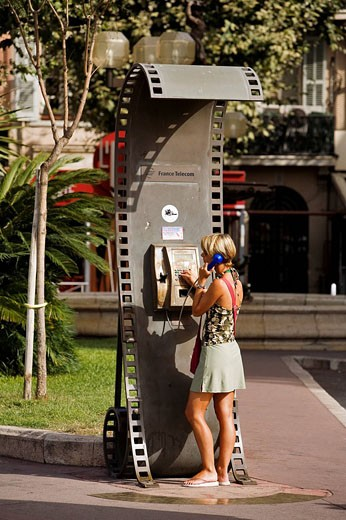 France, Alpes Maritimes, Cannes, Croisette, a phone booth shaped as a film roll : Stock Photo