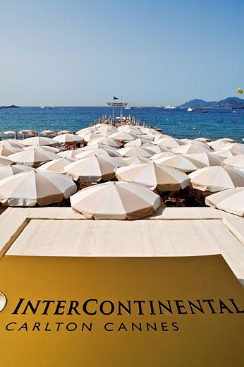 Stock Photo: 1792-88082 France, Alpes Maritimes, Cannes, Croisette, Intercontinental Carlton Cannes Hotel, its private beach