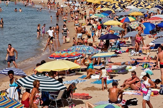 France, Alpes Maritimes, Cannes, Croisette, the beach : Stock Photo