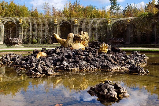 France, Yvelines, chateau de Versailles, listed as World Heritage by UNESCO, the gardens, the grove of Enceladus : Stock Photo