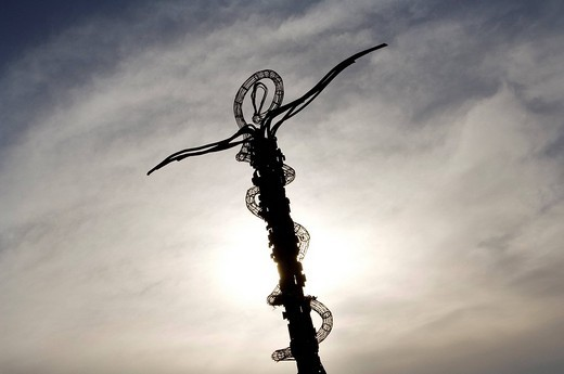 Jordan, Madaba Governorate, The Staff of Moses also called The Brazen Serpent, sculpture by the artist Giovanni Fantoni on the top of Mount Nebo : Stock Photo