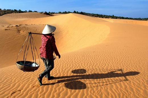 Stock Photo: 1792-89146 Vietnam, Binh Thuan Province, Mui Ne village near Phan Thiet, sand dunes