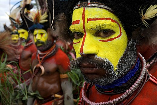 Papua New Guinea, Western Highlands, Mount Hagen, Sing Sing Annual Cultural Show promoting ancient cultures against the threats of extinction by Western influence : Stock Photo