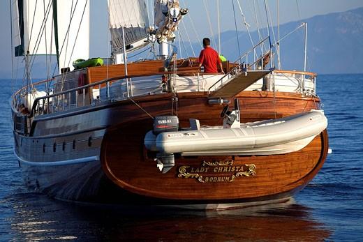 Stock Photo: 1792-89472 Turkey, Aegean coast, Bodrum, Lady Christa Gulet traditional Turkish sailing boat